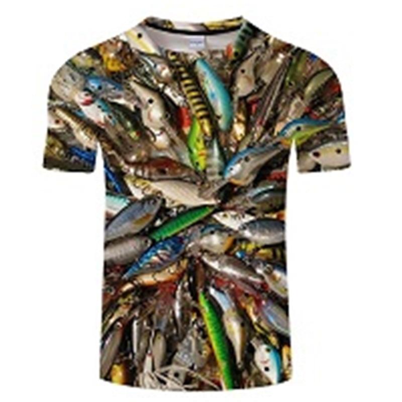 Новая футболка для рыбалки, стильная повседневная футболка с цифровым 3D принтом рыбы, мужская и женская футболка, летняя футболка с коротким рукавом и круглым вырезом, Топы И Футболки S-6XL - Цвет: TXKH437