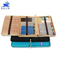 Bgln 72 Holes Canvas Pencils Pouch Bag Folded Brush Case With Zipper cartucheras para lapices Pocket