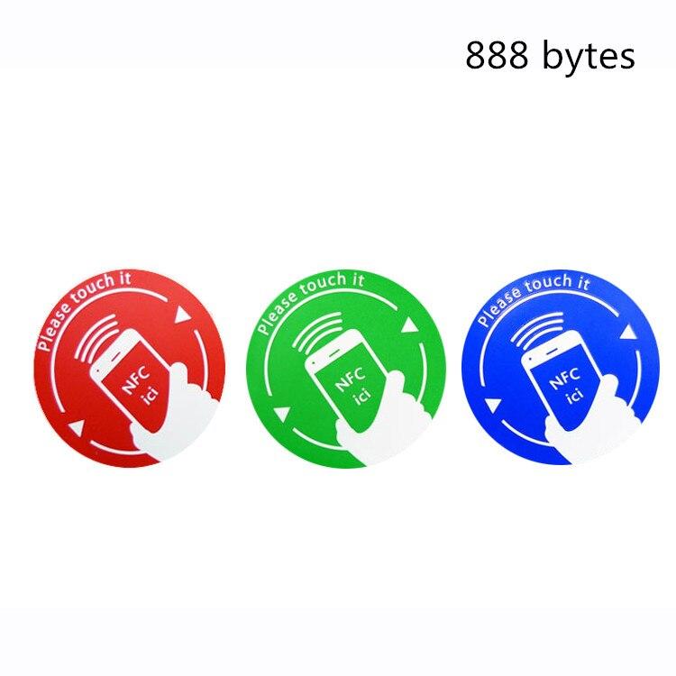 High Quality 888 byte 3 pcs Circular shape waterproof paper NFC Tag tags sticke