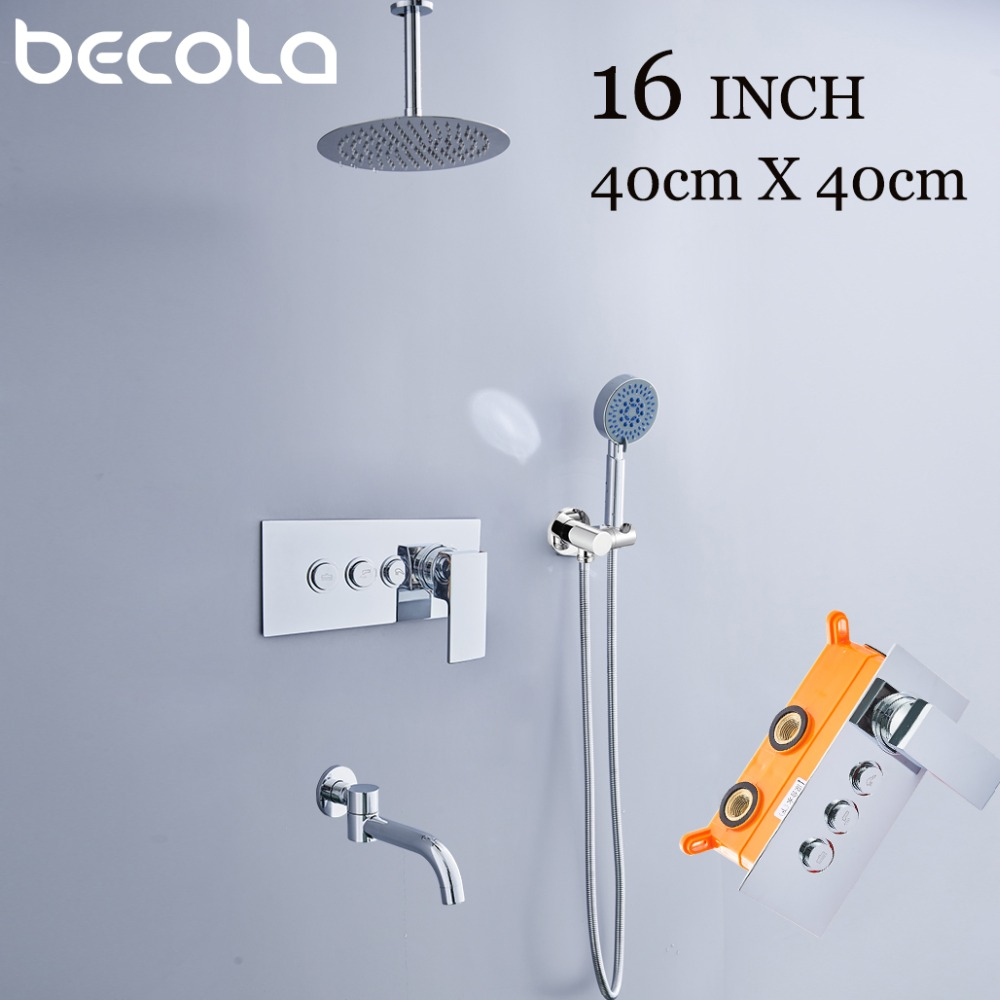 3 function 8 10 12 16 Inch Bathroom Shower Faucets Wall Mounted Rainfall Shower Head Triple
