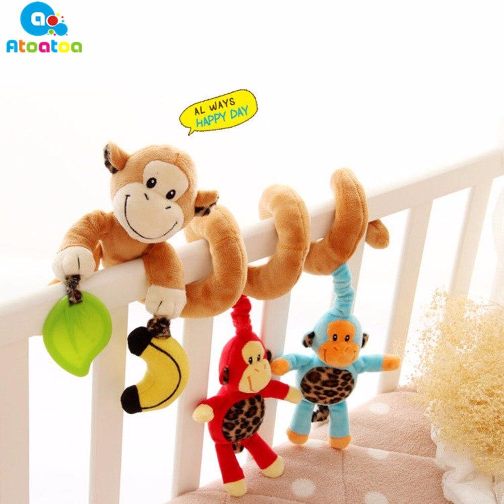 Baby Rattles Cartoon Monkey Baby Crib Revolves Around Bed Stroller Playing Toy Car Lathe Hanging Baby Rattles Plush Toys