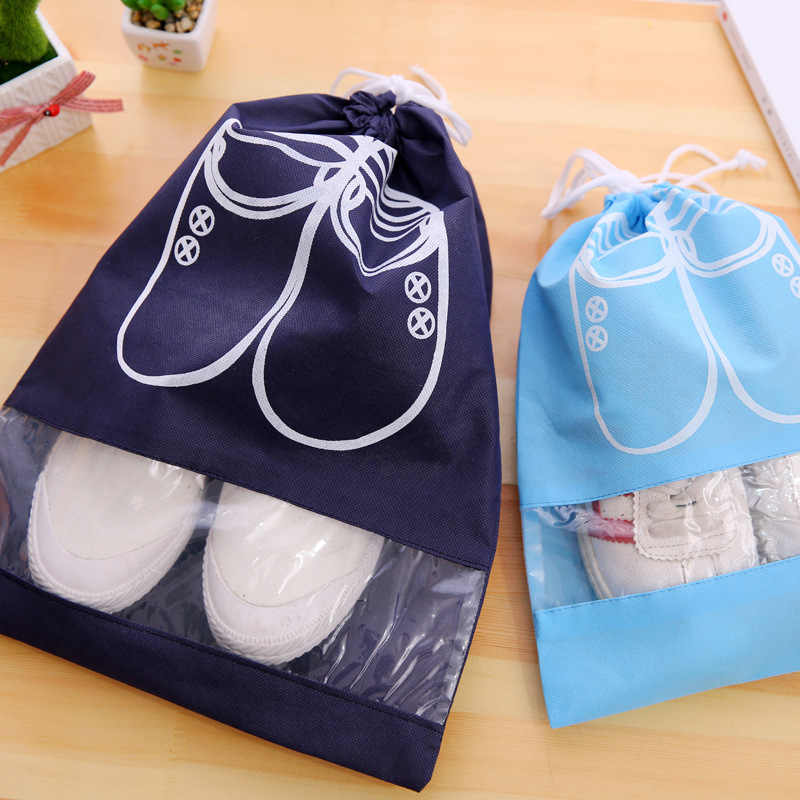 2 Sizes Waterproof Shoes Bag Pouch Storage Travel Bag Portable Tote Drawstring Bag Organizer Cover Non-Woven random color