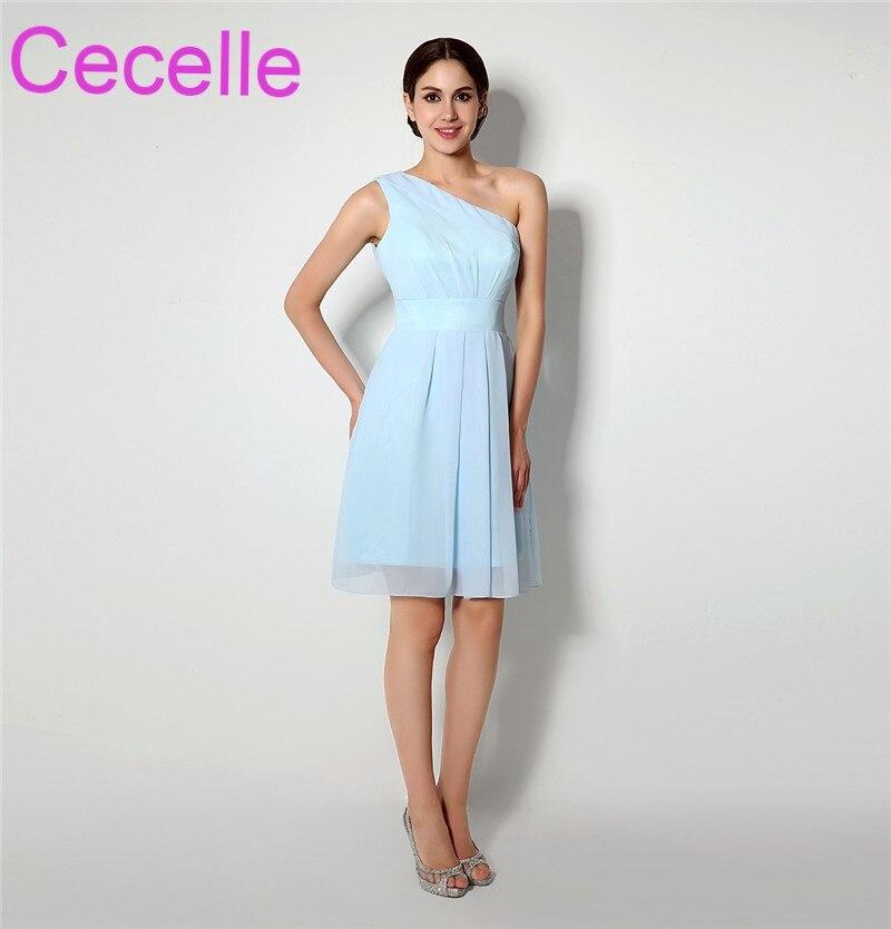 Light Blue Chiffon Beach Short Bridesmaid Dresses 2018 One Shoulder ...