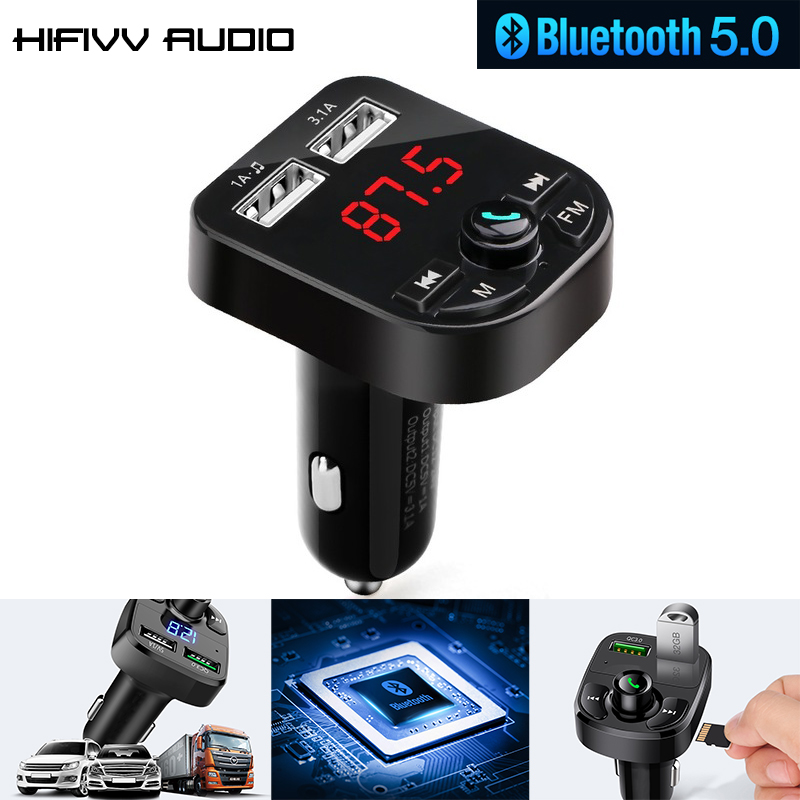 Hifi audio Multifunctional Bluetooth 5.0 Receiver LED MP3 Player of Car Wireless FM Transmitter USB Cigarette Lighter12V