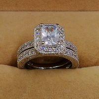 Size5 10 Рождество большая акция Винтаж Ретро Принцесса Cut 10kt белый Золотое покрытие AAA CZ свадебные кольца подарочный набор choucong