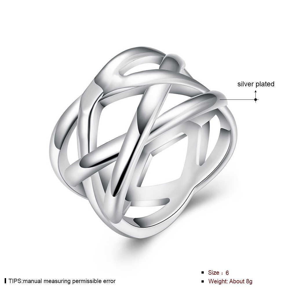 Grand anneau de tissage croisé anneaux en argent plaqué pour les femmes, bijoux de mode Fine, bijoux en filet de poisson pleine taille femmes bagues