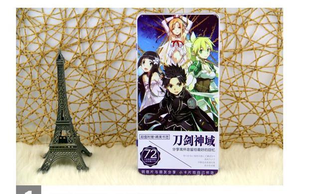 72 Pcs Lot Sword Art Online Iron Box Birthday Postcard Christmas Greeting Cards Set