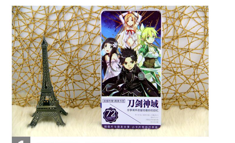 72 Pcs Lot Sword Art Online Iron Box Birthday Postcard Christmas Greeting Cards Set