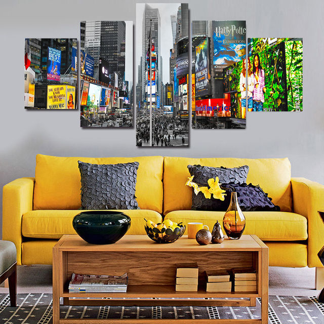 No Frame 5 Piece New York Times Square Modern Home Wall Decor Canvas ...