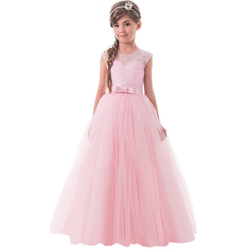 Teen Children Girls Sleeveless Princess Lace Pageant Long Gown Dress for Teenagers 14 Years Girl Birthday Wedding Party Prom цены онлайн