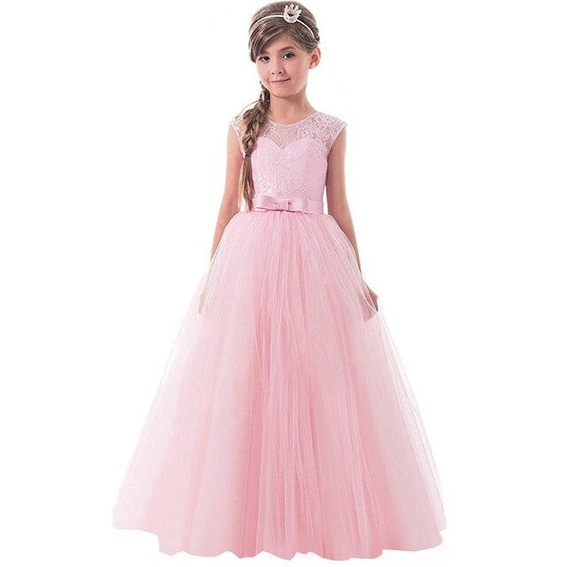 957c745b8 € 12.66 5% de DESCUENTO Vestido largo del Desfile del cordón de la princesa  sin mangas de las niñas adolescentes 14 años niña cumpleaños fiesta ...