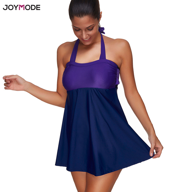 23f5f23e32 JOYMODE Halter Swimsuit One Piece Swim Dress Shorts Cover Up Swimwear Plus  Size Women Beach Wear Push Up Bikini Skirt Monokini