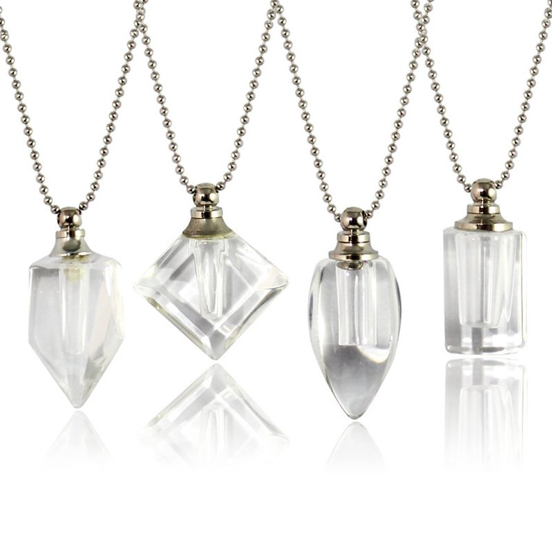 1PC Clear Crystal Vial Pendant With Ball Chain Necklace name on rice crystal vials Necklaces Wishing Bottle Pendant Necklace