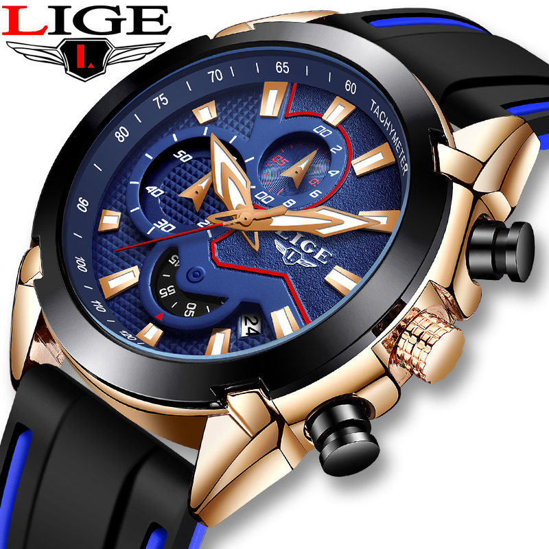 LIGE Fashion Casual Men's Sports Watches Men Automatic Date Silicone Strap Waterproof Analog Quartz Clock Military Chronograph