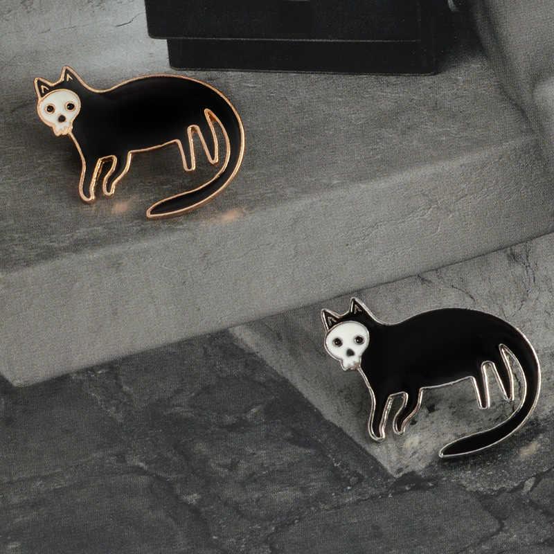 해골 검은 고양이 핀 브로치 하드 에나멜 옷깃 핀 배지 자켓 배낭 청바지 쥬얼리 액세서리 여성 남성