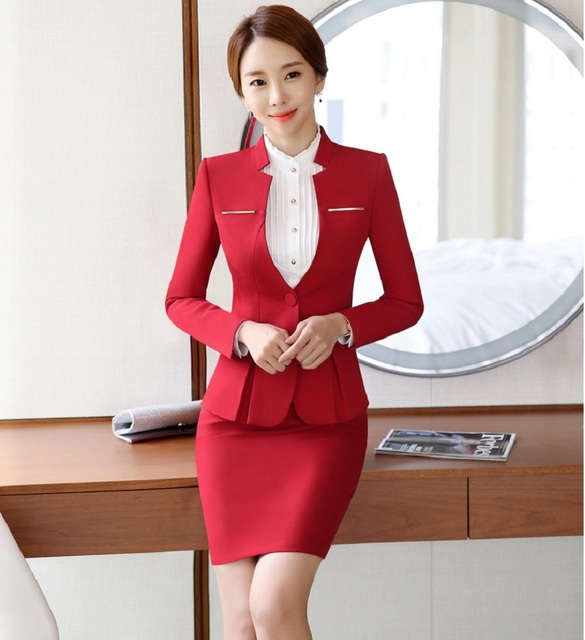 fc40a8000c Plus Size 4XL Professional Formal OL Styles Work Suits With Jackets And  Skirt Career Work Wear