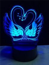 Romatický 3D LED Hologram – Nočné svetlo – Double Swan Heart