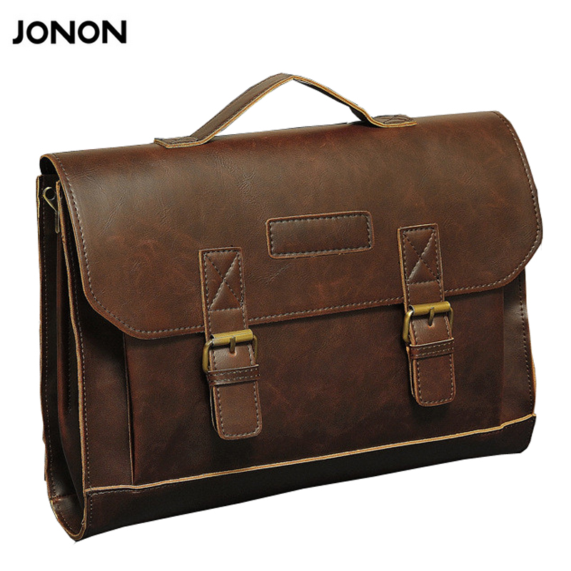 все цены на Jonon Vintage Men Briefcase Portfolios Office Bags Business Bag Messenger For Men Oil Waxy Laptop Bag For Ipad For 13 Inches онлайн