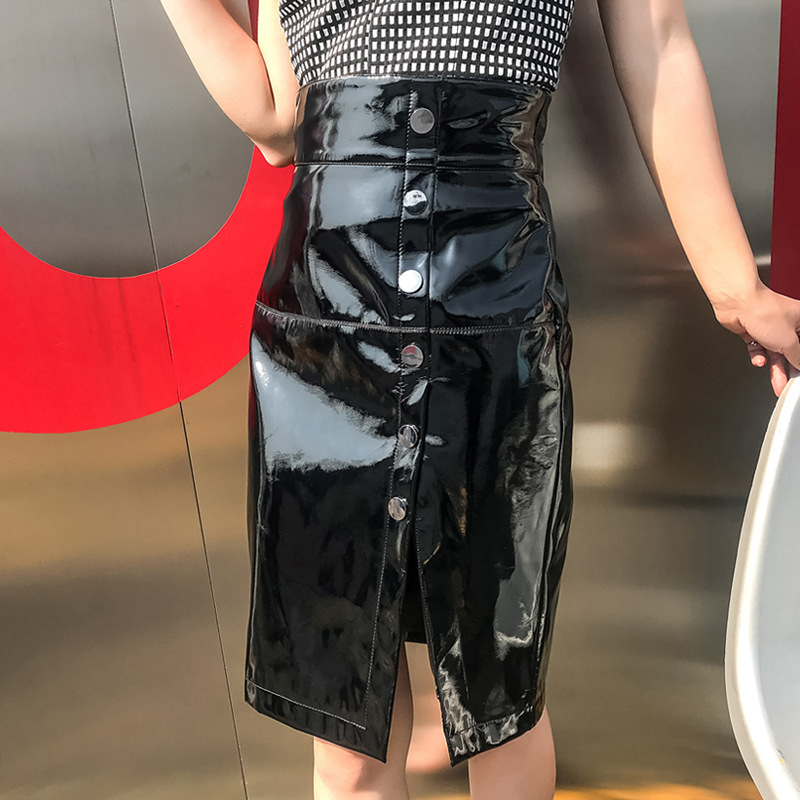 2018 New Spring Harajuku Clothes Pu Leather Skirt Female High Waist Front Button Elegant Bodycon Ruched Split Women Midi Skirt