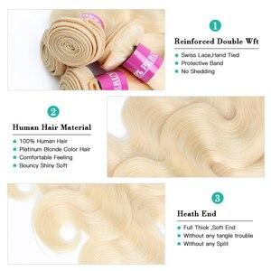 Image 4 - Monstar 613 Blonde Bundles With Closure Brazilian Body Wave Hair Bundles With Closure Remy Human Hair Weave 8   36 Inch Bundle