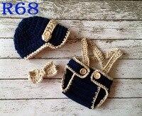 かぎ針編み赤ちゃんスリーピース(帽子+おむつカバー+弓)セット手作りベビー撮影小道具赤ちゃん男の子セットキャスケットキャップサイズ: 0-3メートル送料無料