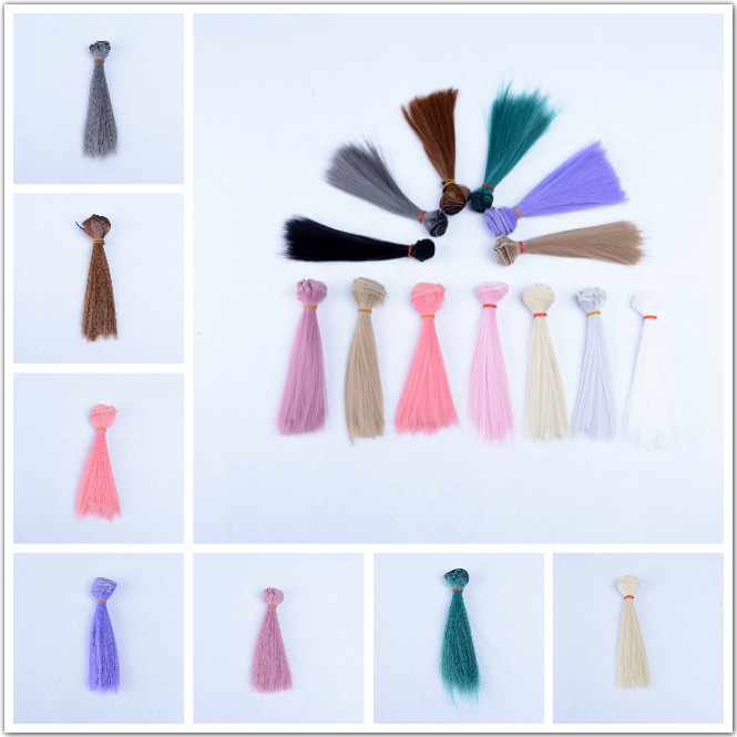 15*100cm Doll Accessories Straight Synthetic Fiber Wig Hair For Doll Wigs High-temperature Wire