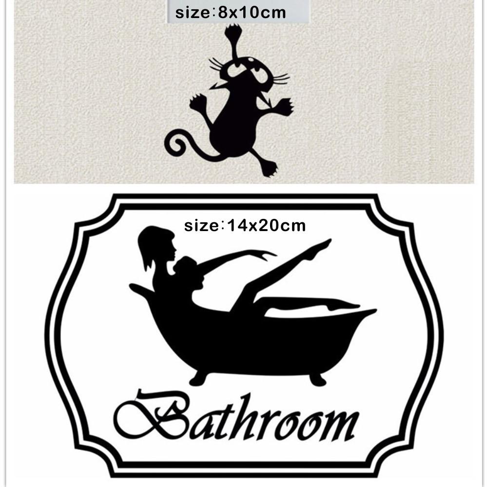 2 шт. Ванная комната двери Стикеры и забавный кот переключатель Стикеры s Творческий дом Декор наклейка