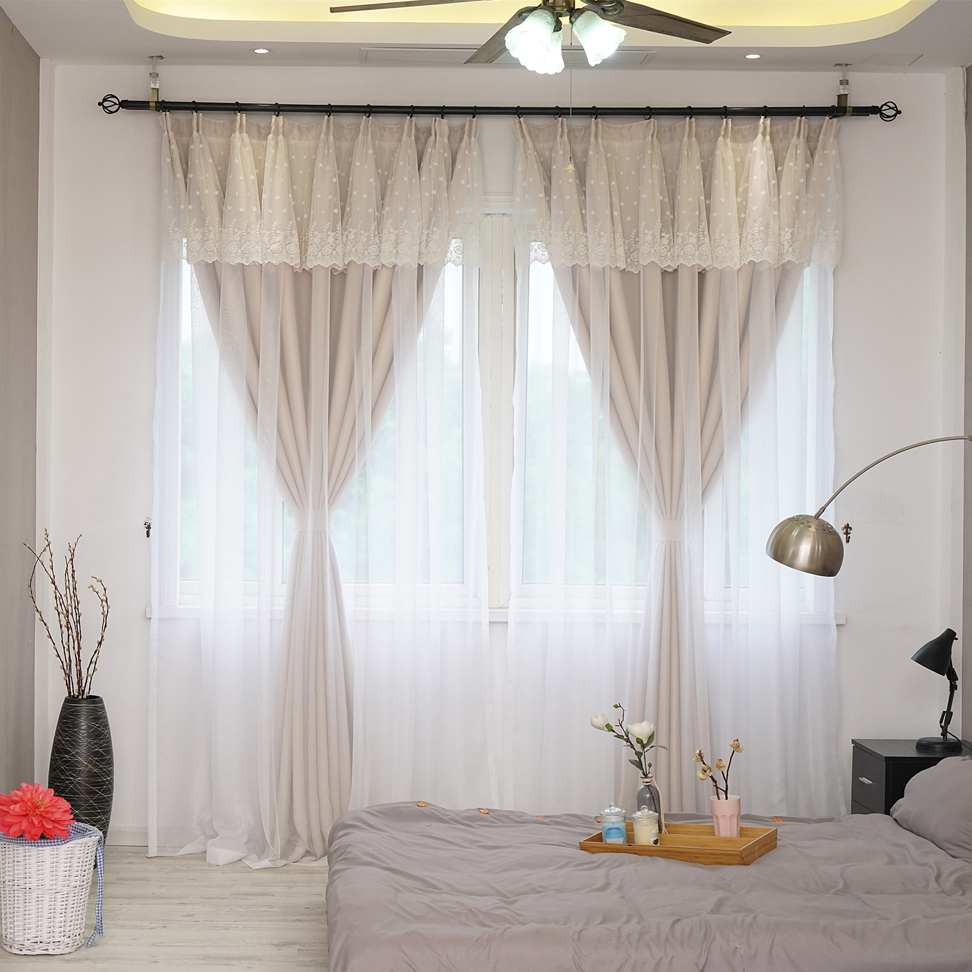 Us 46 68 22 Off Sunnyrain 1 Piece Double Layer Lace Curtain For Living Room Blackout Curtains For Bedroom Children Room Drapes Customizable In