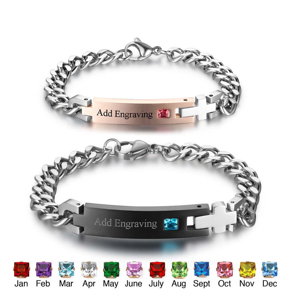 Customized Birthstone Name Id Bracelets Bangles Stainless Steel Love For Her King His Queen Ba101977