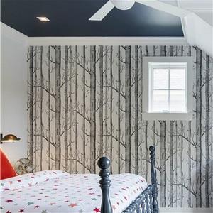 Image 2 - שחור לבן ליבנה עץ טפט חדרי שינה מודרניים עיצוב סלון קיר נייר רול כפרי יער יער טפטים פנינים