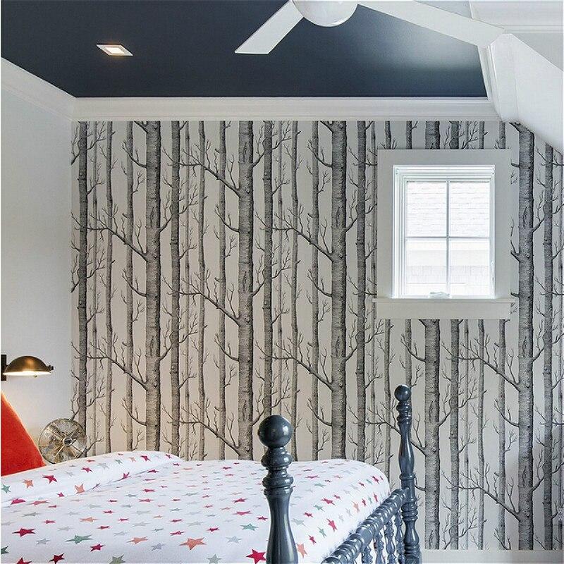Noir Blanc Bouleau Arbre Papier Peint pour Chambre Design Moderne ...