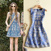 Ecombird 2017 High Quality Summer Runway Dresses sexy o-neck floral Embroidery Denim tank women lady party Dress robe lin femme