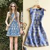 2017 High Quality Summer Runway Dresses Sexy O Neck Floral Embroidery Denim Tank Women Lady Party