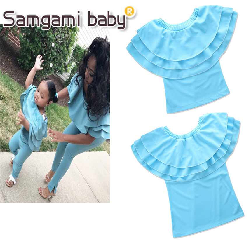 Samgami Baby Summer Girls Clothes Sleeveless Sky Blue Tops Parent Child Outfit Mother And Daughter Clothes Family Matching Tee Special Summer Sale Mother & Kids