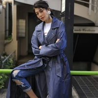 LYNETTE'S CHINOISERIE Spring Autumn Women Original Design Oversize Imitated Denim Long Trench