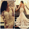 See Through White Appliques Lace Mermaid Wedding Dresses Long Sleeve Church Bridal Gowns Princess Bridal Dress For Wedding Party