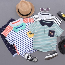 2019 Fashion Boys T Shirt Kids Shirts Baby Boys Casual Short Sleeve Stripes T-shirt Summer Children Toddlder Tee Shirts Tops стоимость
