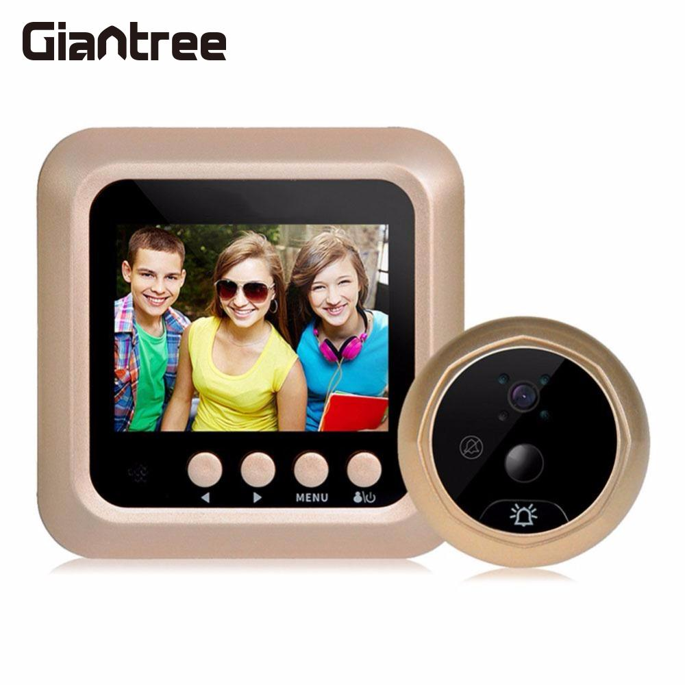 все цены на Giantree 2.4 Inch LCD Color Screen Electronic Door Bell Camera Viewer IR Night Door Peephole Camera Photo/Video Recording