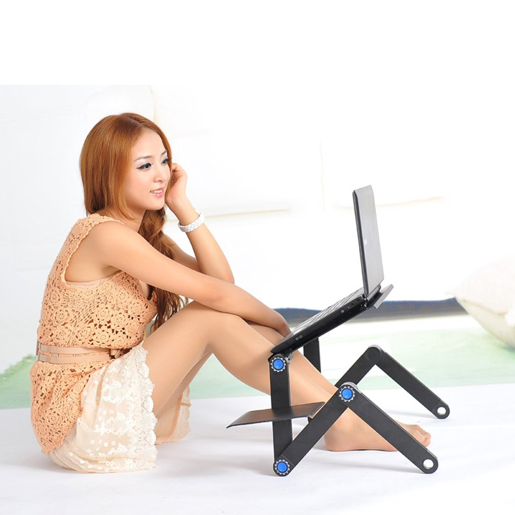 Adjustable Laptop Desk Table Ergonomic TV Bed Lapdesk Tray PC Notebook Table Desk Stand With Cooling Fan Mouse Pad Aluminum