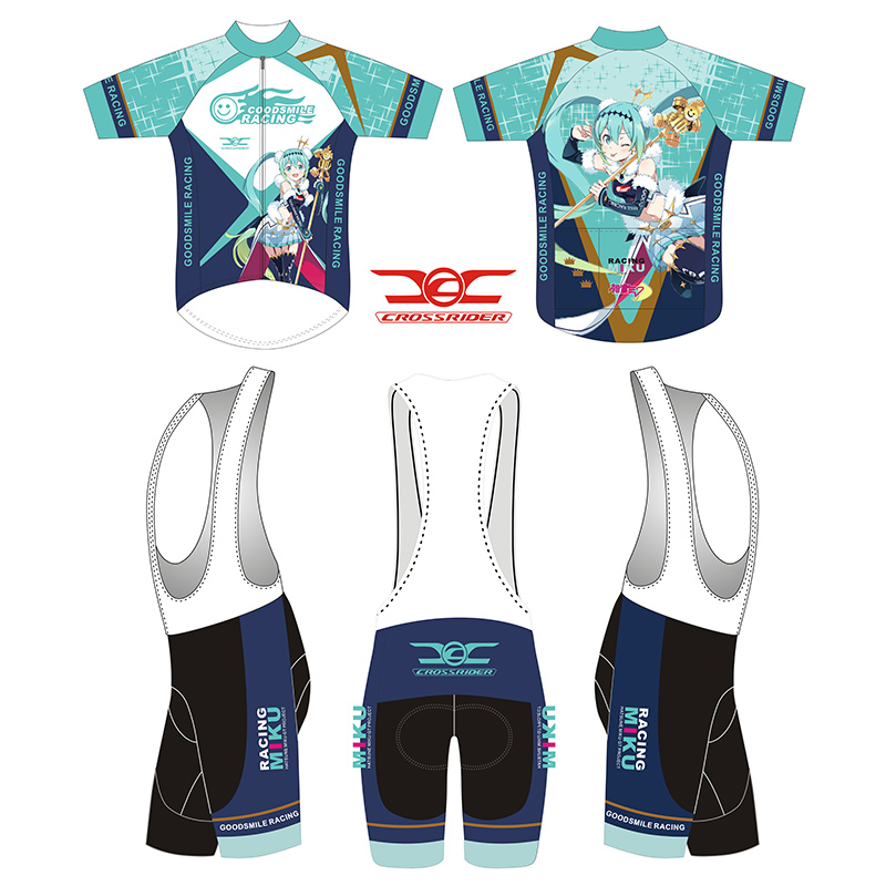 Crossrider 2018 Hatsune Miku Costume Cosplay mens Cycling Jersey set MTB top bike biking shirt GEL Bib Shorts racing gear