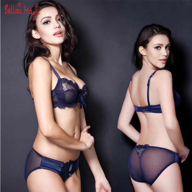 d4156959cb 32 34 36 38 40 42 B C D Sexy Lace Panties Bra Set Transparent Women Underwear  Set