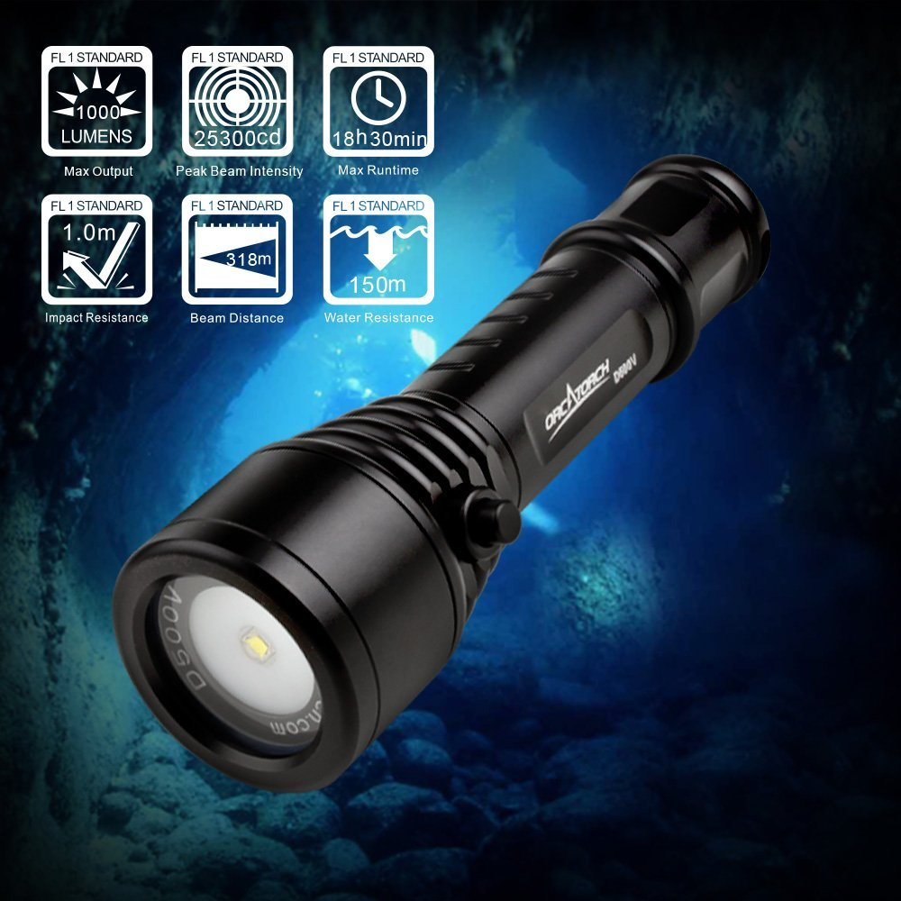 ORCATORCH D500v Video Light Scuba Dive Torch 1000LM Scuba Diving Photography Flashlight 150M Waterproof Outdoor Lighting