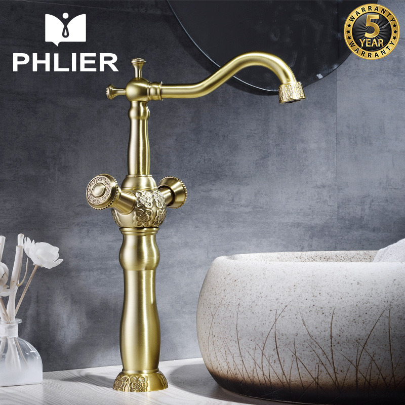 PHLIER Bathroom Faucet Sink Faucet Vintage Mixer Water Double Handle Cold and Hot Basin Faucets Products for Bathroom Water Tap xoxo modern bathroom products chrome finished hot and cold water basin faucet mixer single handle water tap 83007