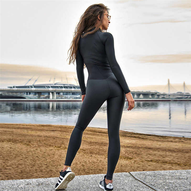 54d6937ec04d 2019 One-Piece Yoga Set Women Sexy Stitching Zipper Jumpsuits Waist Yoga  Pants Fitness Leggings
