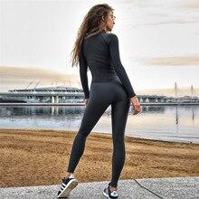 2019 цельный набор для йоги женские сексуальные строчки на молнии Комбинезоны Талия Йога брюки фитнес леггинсы тренировочные спортивные Леггинсы для бега