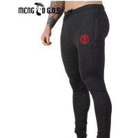 Fitness Mens Long Pants New Solid Color Casual Soft Elastic Cotton Skinny Sweatpants Bodybuilding Pencil Trousers