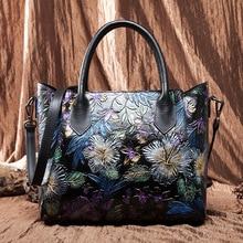 купить Brand Designer Original Hand Painted Genuine Cow Leather Women Floral Handbags Cowhide Black Crossbody shoulder Bags Female tote дешево