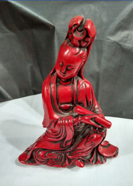 Chinese manual sculpture red coral goddess guanyin bodhisattva figure of Buddha