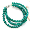 Vintage Classic Laboratory-created Natural Stone Jewelry High-quality Emeralds  Beaded Three Layers Chain Bracelet 22cm
