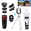Universal Phone Lens 12X Zoom Lenses Telephoto Lens Telescope+Tripod+Macro Wide Angle Fish eye Lentes For iPhone 7 6 s Samsung